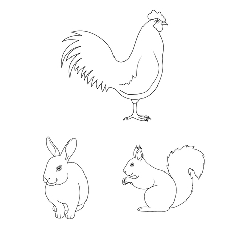 Realistic animals outline icons in set collection for design. Wild and domestic animals vector symbol stock web illustration. Illustration