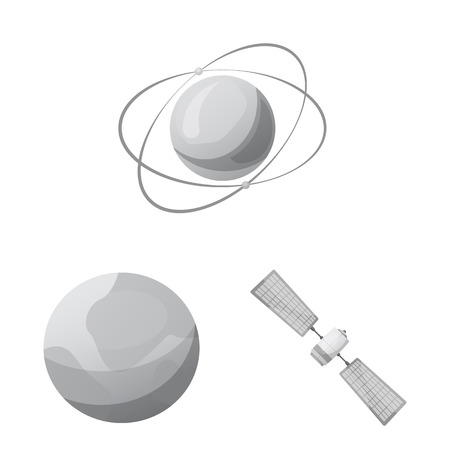Vector illustration of mars and space sign. Collection of mars and planet vector icon for stock. 矢量图像