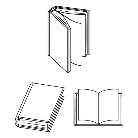 Book bound outline icons in set collection for design. Printed products vector symbol stock web illustration.
