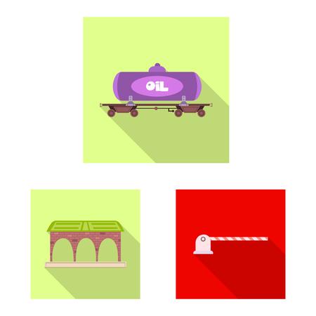 ●電車と駅の標識のベクトルイラスト。●列車とチケットのストックベクトルイラストのセット。