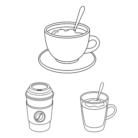 Different kinds of coffee outline icons in set collection for design. Coffee drink vector symbol stock web illustration. 向量圖像