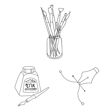 Painter and drawing outline icons in set collection for design. Artistic accessories vector symbol stock web illustration.