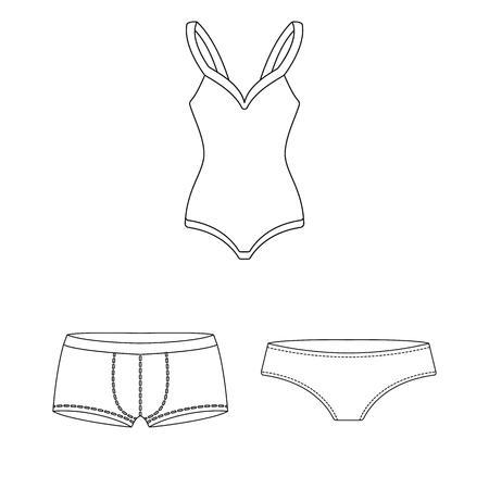 I vestiti e gli accessori delineano le icone nella raccolta dell'insieme per progettazione. Illustrazione di web di simbolo di scarpe e decorazione vettoriale.