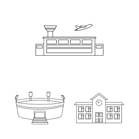 Building and architecture outline icons in set collection for design. Construction and Institution vector symbol stock web illustration.