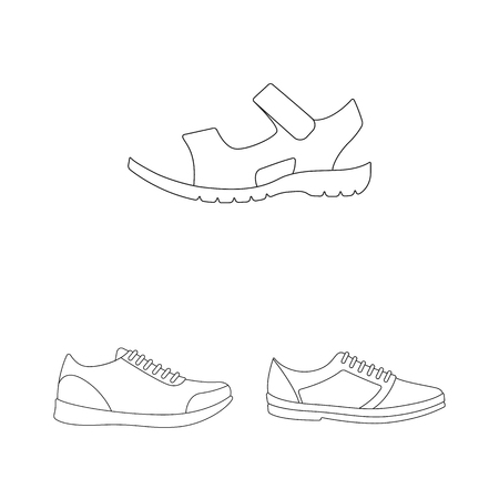 Different shoes outline icons in set collection for design. Men s and women s shoes vector symbol stock web illustration. Illustration