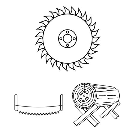 Sawmill and Timber outline icons in set collection for design. Hardware and Tools vector symbol stock web illustration.