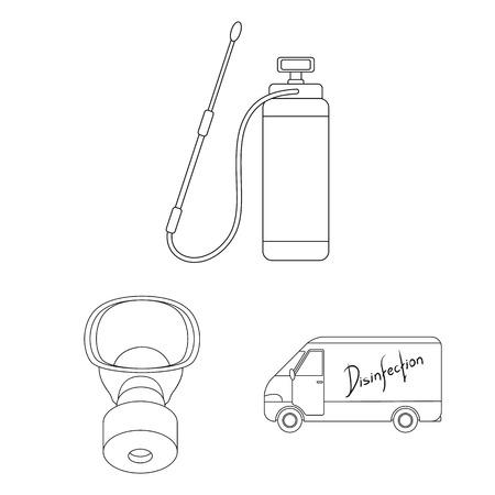 Plagas, veneno, personal y equipo delinean los iconos en la colección de conjunto para el diseño. Control de plagas servicio vector símbolo stock web ilustración