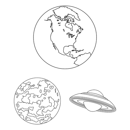 Planets of the solar system outline icons in set collection for design. Cosmos and astronomy vector symbol stock web illustration.