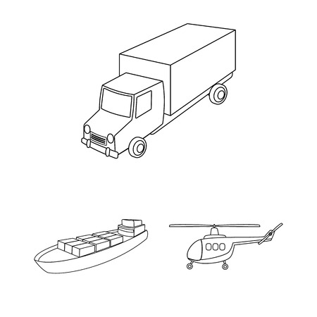 Different types of transport outline icons in set collection for design. Car and ship vector symbol stock web illustration. Ilustrace