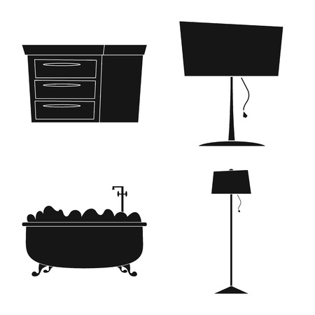 Isolated object of furniture and apartment icon. Set of furniture and home vector icon for stock. Illustration