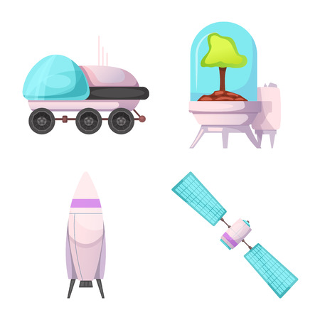 Isolated object of mars and space icon. Set of mars and planet stock vector illustration.