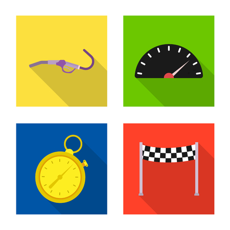 Isolated object of car and rally sign. Set of car and race stock vector illustration.