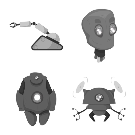 Vector illustration of robot and factory symbol. Collection of robot and space vector icon for stock.