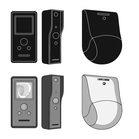 Vektordesign von CCTV und Kamerasymbol. Satz von CCTV- und Systemvektorsymbol für Lager.