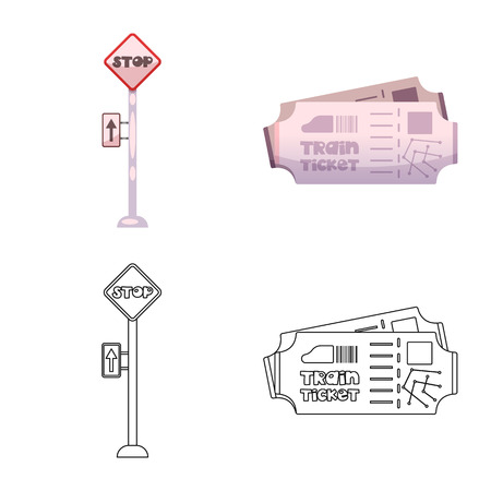Vector illustration of train and station icon. Set of train and ticket stock vector illustration.  イラスト・ベクター素材
