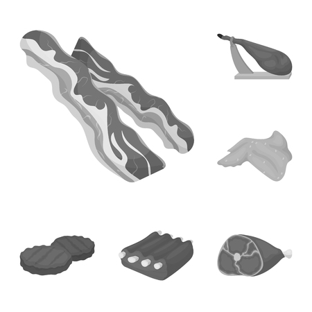 Different meat monochrome icons in set collection for design. Meat product vector symbol stock web illustration.