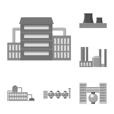 Factory and facilities monochrome icons in set collection for design. Factory and equipment vector symbol stock illustration.