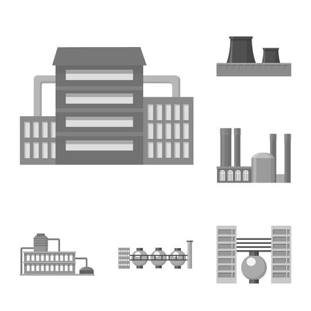Icone monocromatiche di fabbrica e strutture in insieme di set per il disegno. Fabbrica e attrezzature simbolo vettore illustrazione stock.