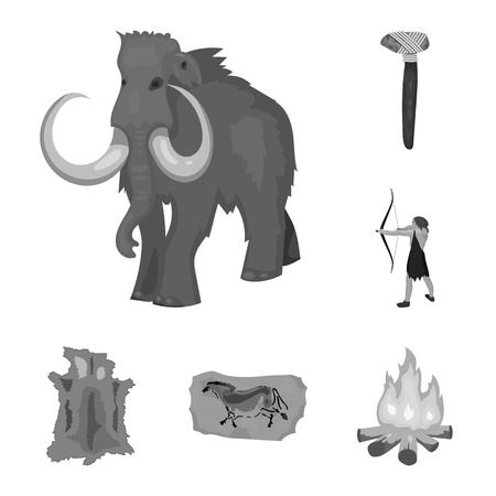 Leven in het stenen tijdperk zwart-wit pictogrammen in set collectie voor design. Oude mensen vector symbool stock illustratie.