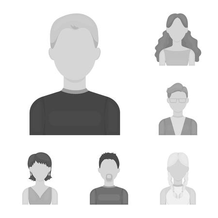 Avatar e faccia icone monocromatiche nella raccolta di set per il design. Illustrazione delle azione di simbolo di vettore di aspetto di una persona. Vettoriali