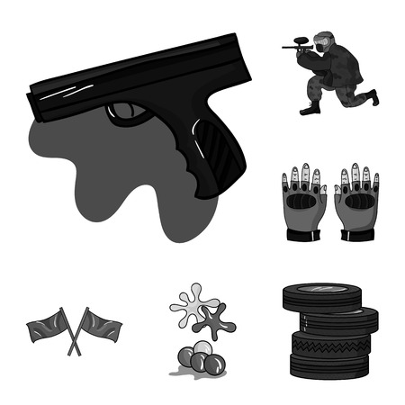 Paintball, team game monochrome icons in set collection for design. Equipment and outfit vector symbol stock  illustration. Foto de archivo - 108476751