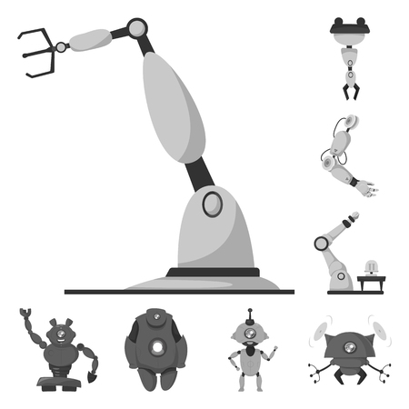 Vector illustration of robot and factory symbol. Collection of robot and space stock vector illustration.