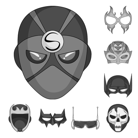 Vector illustration of hero and mask icon. Set of hero and superhero stock vector illustration.
