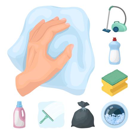 Limpieza y criada, dibujos animados, iconos de colección set de diseño. Equipo para la ilustración común del símbolo del vector de la limpieza. Ilustración de vector