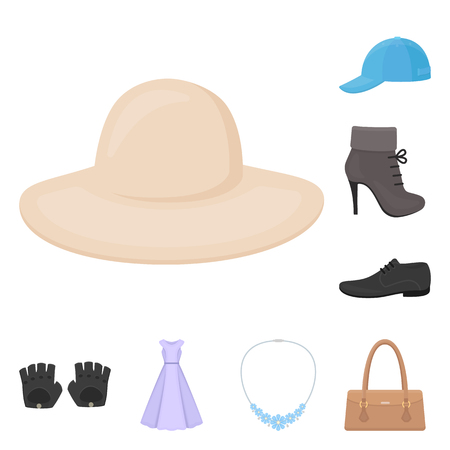 bbb99103cab Clothes and accessories cartoon icons in set collection for design. Shoes  and decoration vector symbol