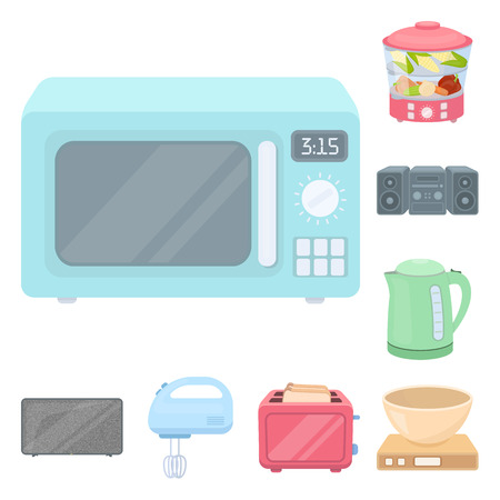 Types of household appliances cartoon icons in set collection for design.Kitchen equipment vector symbol stock web illustration. Vectores