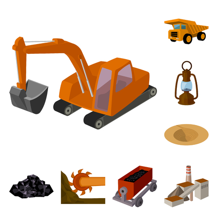 Mining industry cartoon icons in set collection for design. Equipment and tools vector symbol stock web illustration. Stok Fotoğraf - 108528666