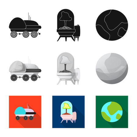 Vector design of mars and space sign. Collection of mars and planet vector icon for stock.  イラスト・ベクター素材