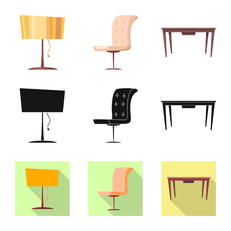 Isolated object of furniture and apartment logo. Collection of furniture and home stock vector illustration.