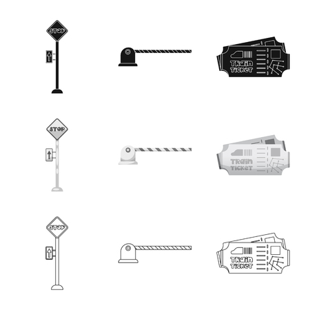 Isolated object of train and station symbol. Collection of train and ticket vector icon for stock.  イラスト・ベクター素材