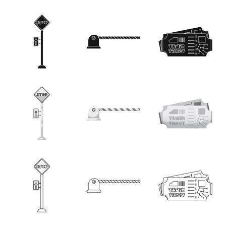 駅と駅のシンボルの孤立したオブジェクト。在庫のための列車とチケットベクトルアイコンのコレクション。