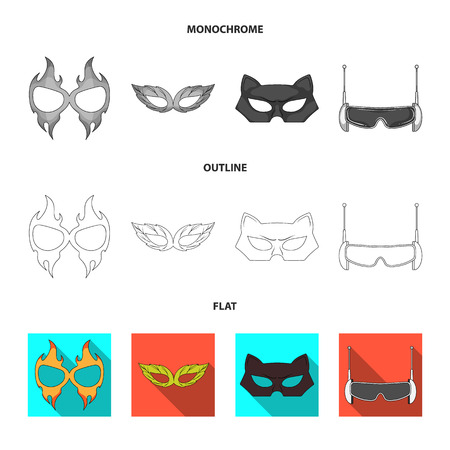 Vector design of hero and mask sign. Collection of hero and superhero vector icon for stock.