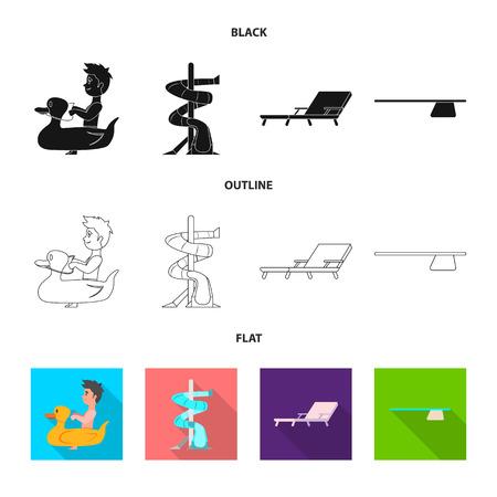 プールとスイミング シンボルのベクター図。プールとアクティビティのストックベクトルのイラストのコレクション。