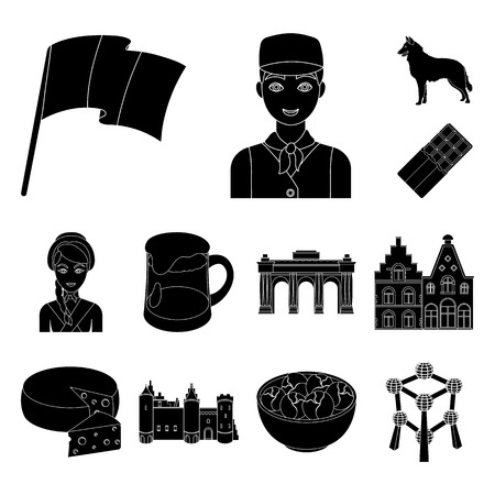 Country Belgium black icons in set collection for design.Travel and attractions Belgium vector symbol stock web illustration. Illustration