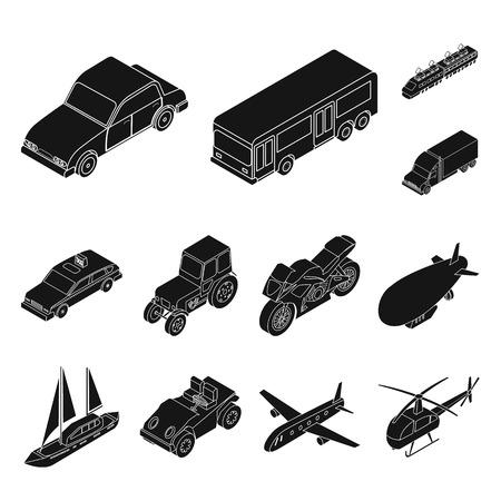 Tipi differenti di icone nere di trasporto nella raccolta dell'insieme per progettazione. Illustrazione isometrica di web delle azione di simbolo di vettore della nave e dell'automobile. Vettoriali