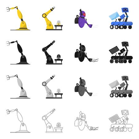Objeto aislado de robot y símbolo de fábrica. Colección de robot y símbolo de stock espacial para web.