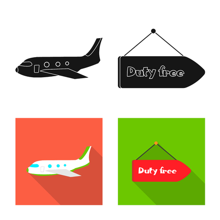 Vector design of airport and airplane sign. Collection of airport and plane stock vector illustration.