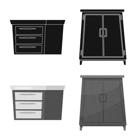 Isolated object of furniture and apartment icon. Set of furniture and home vector icon for stock.