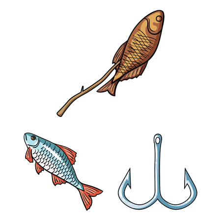 Fishing and rest cartoon icons in set collection for design. Tackle for fishing vector symbol stock  illustration. 일러스트