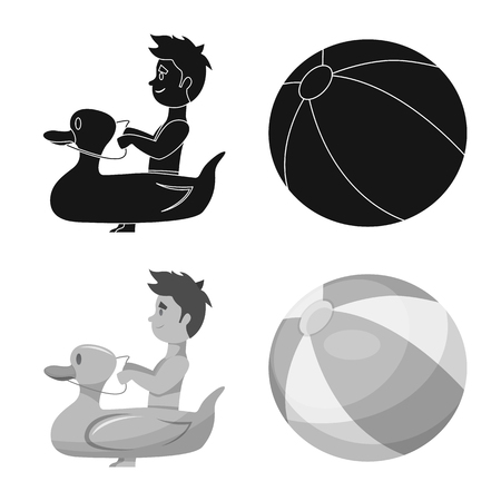 Isolated object of pool and swimming icon. Set of pool and activity stock symbol for web.