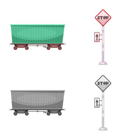 ●電車と駅の標識のベクトルイラスト。ウェブ用の列車とチケットの銘柄記号のセット。