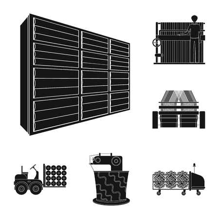 Textile industry black icons in set collection for design.Textile equipment and fabrics vector symbol stock web illustration.