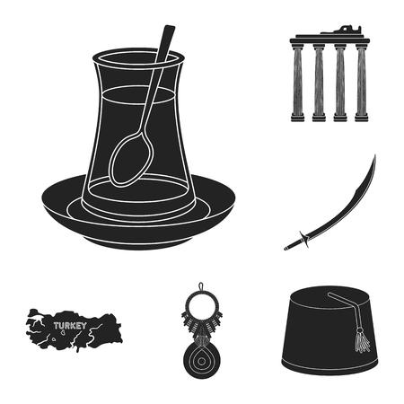 Turquía, país, negro, iconos, en, conjunto, colección, para, design., Viaje, y, atracciones, vector, símbolo, acción, tela, illustration.