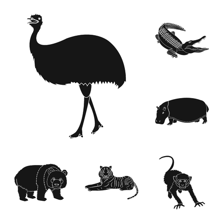 Different animals black icons in set collection for design. Bird, predator and herbivore vector symbol stock web illustration.