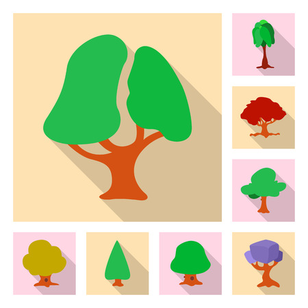 Vector illustration of tree and nature logo. Collection of tree and crown vector icon for stock.