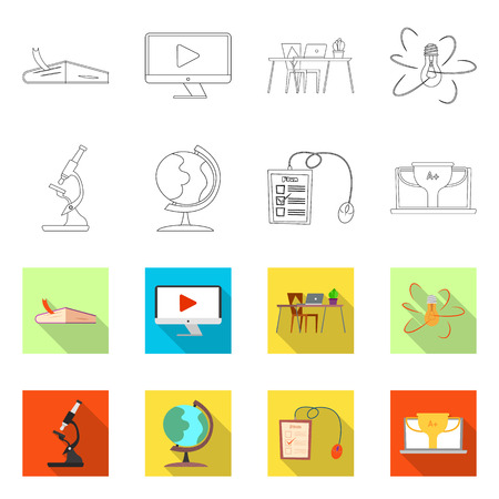 Isolated object of education and learning sign. Collection of education and school stock vector illustration. Vektoros illusztráció
